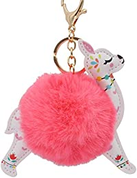 REAL SIC Alpaca/Llama Pom Pom Keychain - Faux Fur Fluffy Fuzzy Charm For Women & Girls. Fake Rabbit Key Ring for Backpacks, Purses, Bags or Gifts (Neon Pink)