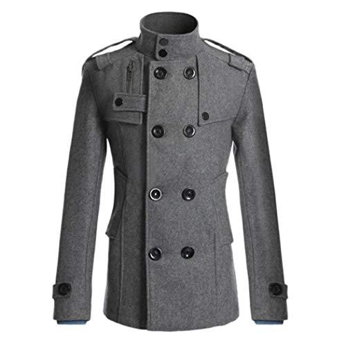 Homme Pour Long Coupe Lirenshige Manteau D'hiver Gris Double Boutonnage Fine ISUqRF
