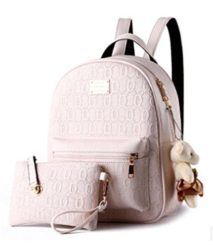Diseñado Moda Mujer Mochila Mochila escolar de cuero estilo casual mochilas + pequeñas bolsas Beige