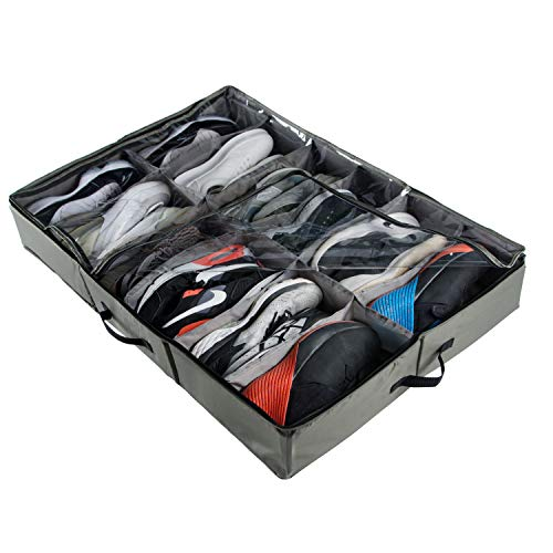 ACMETOP Extra-Large Under Bed Shoe Storage Organizer, Sturdy Built-in Structure & Durable Linen, Underbed Storage Solution Fits Mens Size 13 Sneaker and Womens 6 High-Heels (Olive Green)