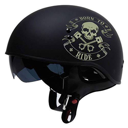TORC T5515BTR25 Flat Black T55 Spec-Op Motorcycle Half Helmet with Graphic and Drop-Down Sun Visor (Born to Ride