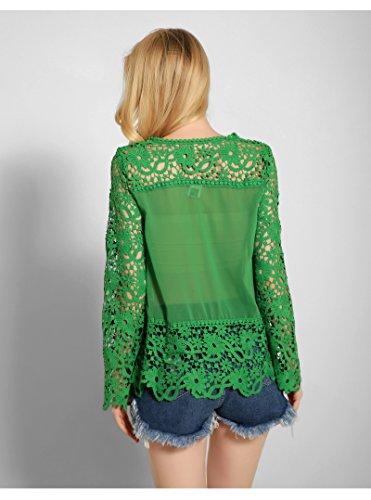 Mode En shirt Blouse Femme Longue Avec T Top Dentelle Acvip Vert Manche qF6w5H