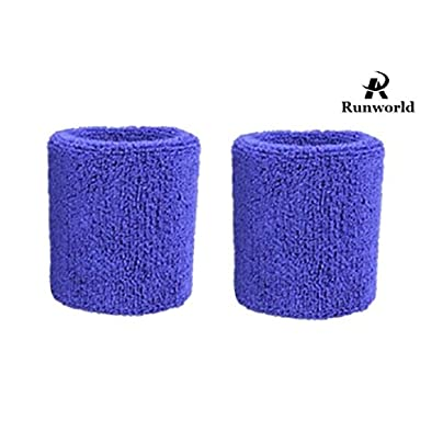 Runworld Inch Sweatband Cotton Sports Basketball Football Tennis Absorbent Wristband Terry Cloth Athletic Wrist Sweat Band Fits Men Women Pair Estimated Price £7.05 -