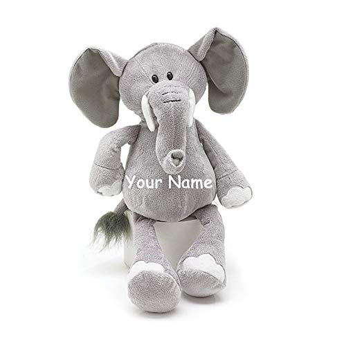 Burton & Burton Personalized Baby Elephant Grey Plush Stuffed Animal Toy for Baby Boy or Baby Girl with Custom Name - 16 Inches ()