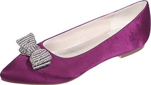 Work 2046 Ladies Comfort 37 EU Flats Bridesmaid 19 Rhinestone Prom Toe Dress Purple Party Wedding Bride Lace Comfort Pointed Pumps ggvqwr