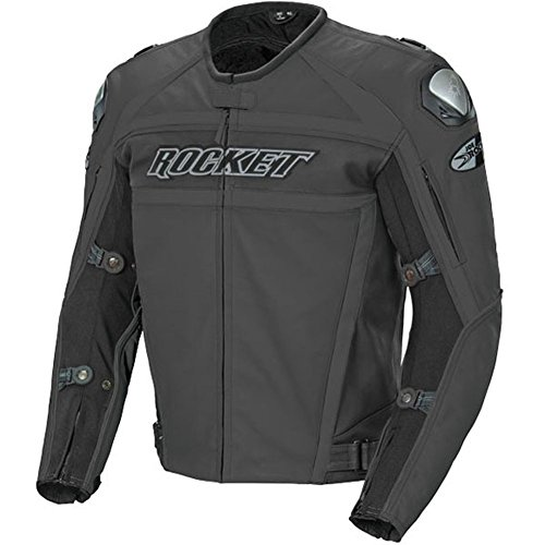 (Joe Rocket Speedmaster Men's Leather Motorcycle Jacket (Stealth Black, Size 48) )