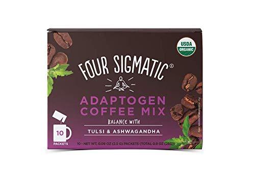 Four Sigmatic Adaptogen Coffee - USDA Organic Coffee with Tulsi & Astragalus - Organic, Vegan, Paleo - Hack Stress - 10 Count