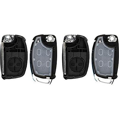 KeylessOption Keyless Entry Remote Flip Key Fob Shell Case Cover Button Pad for Hyundai Sonata Tucson Santa Fe (Pack of 2): Automotive