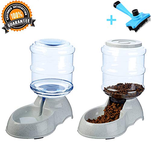 Ancaixin Automatic Gravity Pet Food & Water Feeder Waterer Dispenser Set and Slicker Brush for Dog Cat Puppy Kitten Big Capacity 1 Gallon x 2