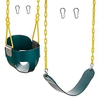 Squirrel Products Combo - High Back Full Bucket Swing (Triangle and Chain Dip) and Heavy-Duty Swing Seat with Carabiners- Green