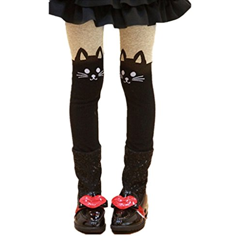 DreamHigh Girls Black Cat Hosiery Long Cotton Overall Bottom Tights