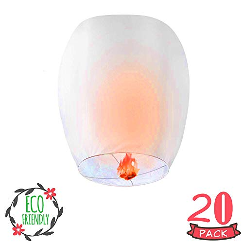 MSDADA Chinese Sky Lanterns, 20 Pack Paper Lanterns, White Lanterns - Eco-Friendly, 100% Biodegradable, Japaneses Lanterns for Celebrations, Weddings, Memorial Ceremonies (Lanterns Morroccan)