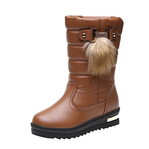 Elevin(TM)2017Women Winter Warmful Fashion Mid Calf Snow Boots Shoes (5US, (Brown Calf Footwear)