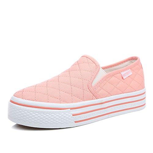 zapatos de lona de mujeres/Zapatos planos blancos/Zapatos de mujer casual estudiante/Blanco Le Fu, zapatos de plataforma con suela gruesa D