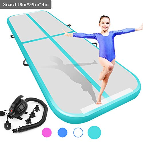 Air Track Tumbling Mat for Gymnastics Inflatable Airtrack Floor Mats with Electric Air Pump for Home Use Cheer Training Tumbling Cheerleading Beach Park Water and Martial Arts (Green, 9.84)