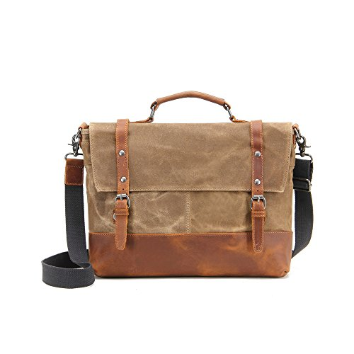 Price comparison product image InFurniture B2008-1-Khaki Khaki,  12 oz Waxed Canvas with Leather Messenger Bag