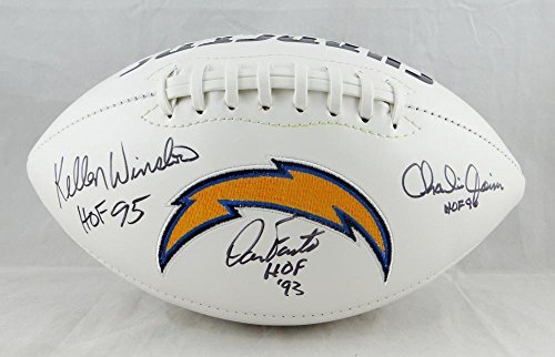 Joiner Autographed San Diego Chargers - Winslow Fouts Joiner Autographed San Diego Chargers Logo Football W/HOF- W - JSA Certified - Autographed Footballs
