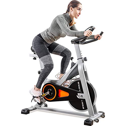 Merax Indoor Cycling Exercise Bike Cycle Trainer Adjustable Stationary Bike (Orange)