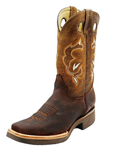 Men Cowboy Genuine Cowhide Leather Square Toe Rodeo Western Boots_Moca_10.5