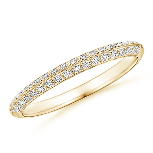 Pave-Set Diamond Knife Edge Wedding Band for Women in 14K Yellow (Pave Knife Edge)