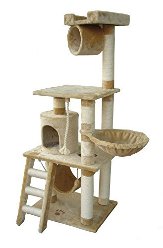 62'' Boston Cat Tree in Beige - Premium Cat Tree for Large Cats and Kittens, Cat Furniture Bundles with Scratching Post, Cat Condo and Cat Tree Hammock, Cheap Cat Trees and Condos by Kitty Mansions