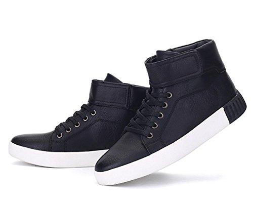 WZG zapatos casuales del Alto-top de los zapatos de los hombres de los nuevos zapatos de cordones de los zapatos planos de invierno estudiante coreano Black