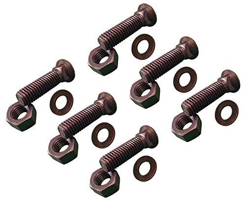 (6 -Plow Bolt, Nut, washer Blades/Cutting Edge, 5/8-11x2 1/2 - Grade 8, Dome Head)