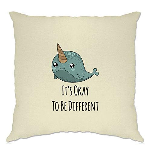 Tim And Ted Cute Narwhal Cushion Cover It's Okay To Be Different Slogan Natural One Size