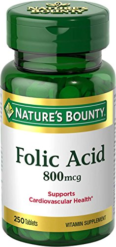 Nature's Bounty Folic Acid Supplement, Supports Cardiovascular Health, 800mcg, 250 Tablets, 3 Pack (Acid Folic Supplements)