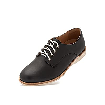 Rollie Women's Lightweight Derby Lace-up Flat Oxfords for Women Shoe Lightest Weight Comfortable Premium Leather Comfort Travel Walking Shoe Memory Foam Footbed, Great for Orthotics