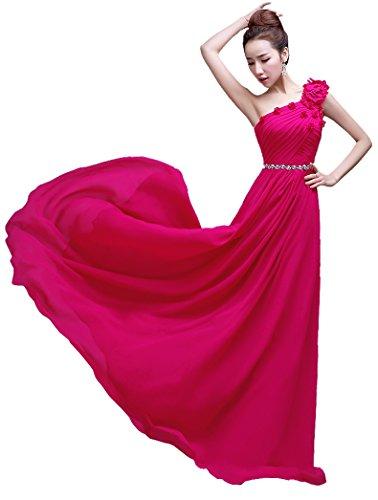 Rosarot Brautjungfer Emily Beauty bodenlang Kleid One Shoulder lang 0UZRUqA