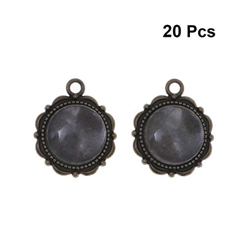 (SUPVOX 20pcs Pendant Trays Vintage Round Tibetan Style Blank Bezel Pendant Trays Base Cabochon Setting Charms for DIY Craft Jewelry Making Accessory (Ancient Cyan) )