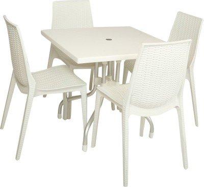Mavi White Outdoor 4 Chair & Table Set (MSC-203)