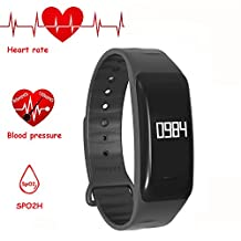 NEWYES NBS04 Blood Pressure Smart Watch Fitness Tracker Bracelet with SPO2 Heart rate monitor Sleep Management Pedometer with OLED Touch Screen for Android iOS Smartphone (black)