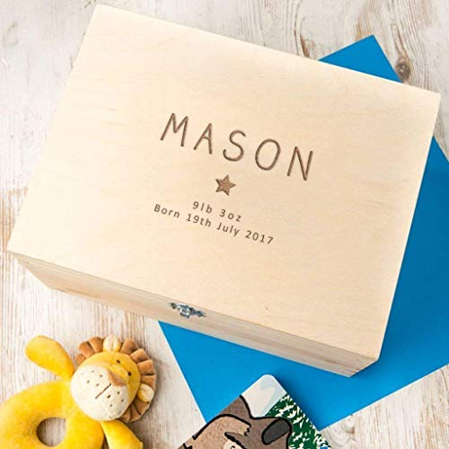 (Engraved Wooden Keepsake Box - Personalized Baby Keepsake Box - Personalized Baby Memory Box - Personalized Baby Boy Gifts - Personalized New Baby Girl Gifts - Baby Keepsake Gifts)
