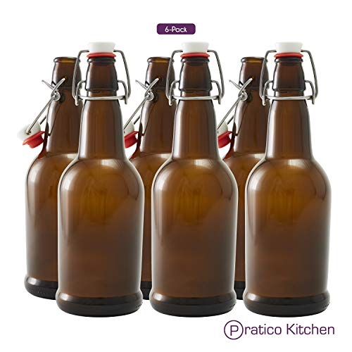 Secure Swing 16 oz Beer Bottles with Ceram-Seal Ceramic Cap for Fermentation & Carbonation of Beer, Soda, Kombucha - 6 Pack - Amber from Pratico Kitchen