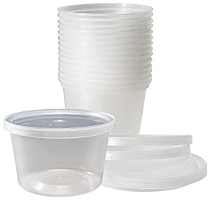 DuraHome - Deli Containers with Lids, 16 oz. Made in USA - Pack of 40, Plastic Microwaveable Clear Food Storage Container Premium Quality