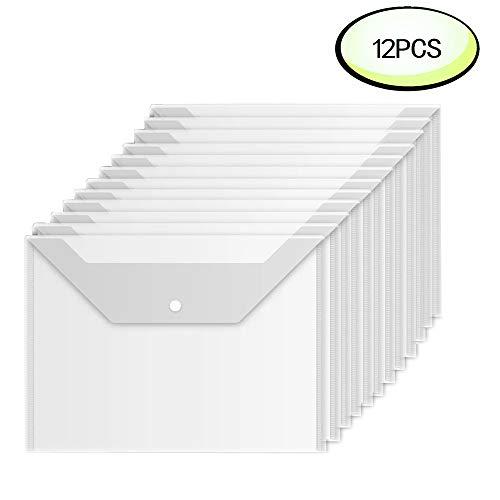 Premium Envelope Wiekyze Poly Envelope 12 Pcs Plastic Document Envelopes with Snap Button Quality Clear Document Folder for A4 Size
