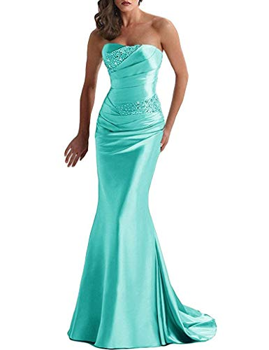 - PearlBridal Women's Strapless Beaded Mermaid Prom Dresses Ruched Long Bridesmaid Dress Party Gown Turquoise Size 6