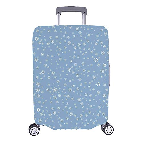 Winter Simple Luggage Cover,Cute Little Snowflakes Falling from the Sky December New Year`s Eve Blizzard Icons Decorative for Home,M