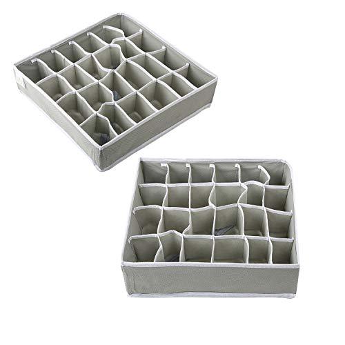 Zonyon Drawer Divider, Foldable Fabric Closet Organizer,Dresser Organizer,Storage Box,Room Organization for Underware,Bra,Ties,Belts,Socks,Tank Tops, Lingerie,Closet,Wardrobe,2 Sets, Grey (The Cube Creative Ware)