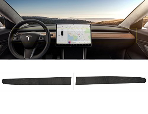 Topfit  Tesla Model 3 Interior Dashboard Wood Wrap Stickers Carbon Fiber Vinyl Wrap Stickers (with Carbon Fiber Lines,2 piece of a Set) (Dashboard Wood)