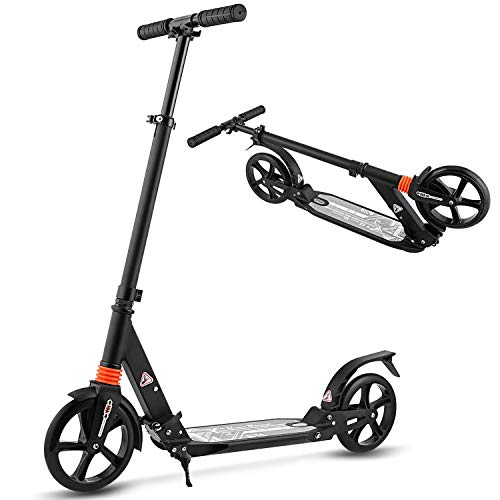 Aceshin Scooter para adultos / adolescentes / niños, 200 mm, ruedas grandes, fácil de plegar, ligero, altura ajustable, guardabarros trasero, freno, soporte para scooter, 220 libras (negro)
