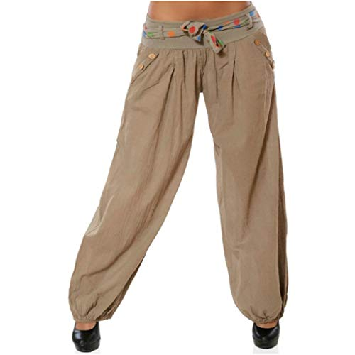 (CCatyam Plus Size Yoga Pants for Women, Wide Leg Harem Pocket Trousers Printed Loose Fashion Khaki)
