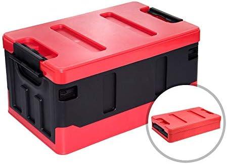 カーオーガナイザートランク ふた付きのストレージビン - キャンプホーム車の使用理想的な車の収納用品に適し35L / 60L 2サイズ折り畳み式の車のトランクオーガナイザー -カーアクセサリー (Color : 48x29x24cm-35l-b)