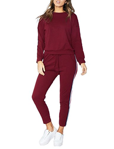 Women's Casual Autumn Spring Sports Sweatsuits 3XXL Side Striped Cotton Tracksuit Jumper Sets Plus Size(WR-2XL)