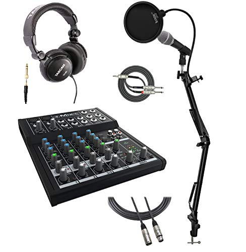 Mackie Mix8 8-Channel Compact Mixer Bundle with Mic, Headphones, Knox Studio Stand, Pop Filter, XLR and Breakout Cable