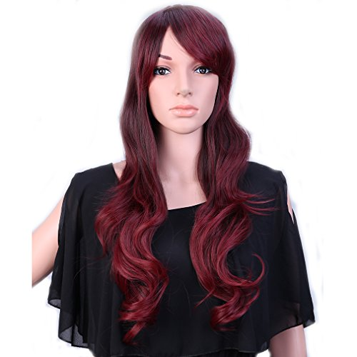 [28'' / 70cm Heat Resistant Synthetic Wig Japanese Kanekalon Fiber Full Wig with Bangs Long Curly Wavy Full Head+Stretchable Elastic Wig Net for Women Girls Lady Fashion and Beauty(Brown Rose] (Wavy Guy Costume)
