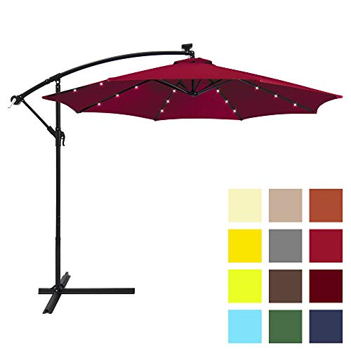 Best Choice Products 10ft Solar LED Offset Patio Umbrella w/Easy Tilt Adjustment - Burgundy (Led Patio Umbrella)