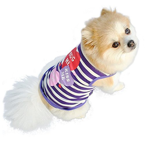 Dog Shirt Summer Clothes Pet Puppy Tee Shirts Dogs Costumes Cat Tank Top Vest (Blue, -